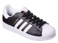 Кроссовки Adidas Superstar Black White Gold