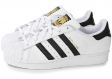 Кроссовки Adidas Superstar White Black Gold